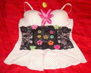 Polka Dot Flower Butterfly Lace Bustier