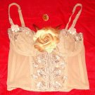 Lace Flower Heart Pearl Tan Bustier Top