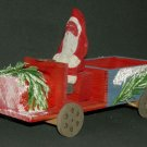 Vintage German Christmas Santa Driving Wood Truck Candy Container Erich Hohn Late 1930s-40