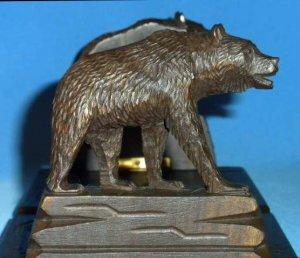 Vintage Black Forest Brienz Carved Wood Bears Expandable Bookends Book Slide Bookslide