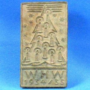 Vintage German Christmas 1934-35 WHW Candlelit Tree Wood Badge Pin Back Winterhilfswerk