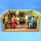 Vintage German 1930 Erzgebirge Miniature Wood Roombox Diorama Women at Spinning Wheels Handcrafted