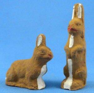 Vintage German Easter Miniature Rabbit Pair Handcrafted Folk Art Christmas Putz 1930-50