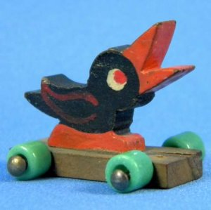 Vintage German 1930-40 Tiny Miniature Wood Duck Pull Toy Glass Wheels Doll Dollhouse Easter