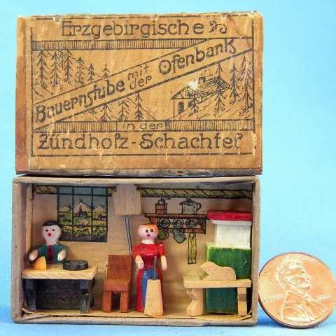Antique German Erzgebirge Matchbox Farmers Kitchen Diormama Erzgebirgische Bauernstube Match Box Toy