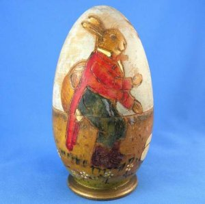 Antique German Easter Rare Large Turned Carved Wood Rabbit Egg Candy Container 1900-20 Folk Art