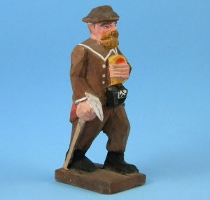 Antique Vintage Erzgebirge German Miner Bergmann Hand Carved Wood Folk Art Figure Chipped Hat