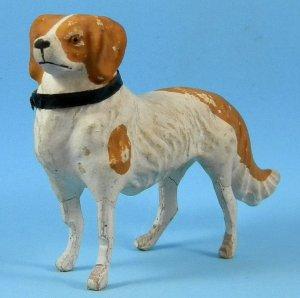 "Antique German Spaniel Dog 4-3/8"" Paper Mache Wood Legs Christmas Antique Doll Accessory"