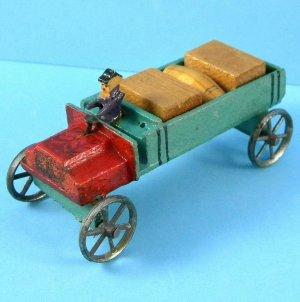 Antique German Christmas Putz Erzgebirge Miniature Wood Barrel Crate Delivery Truck Metal Wheels Toy