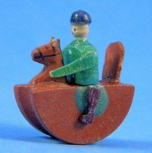 Antique German Christmas Putz Erzgebirge Miniature Wood Rocking Horse Rider Village Toy