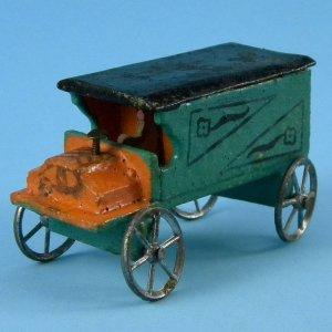 Antique German Erzgebirge Christmas Putz Miniature Wood Decorative Delivery Truck Metal Wheels Toy