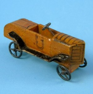 Antique German Erzgebirge Scarce Race Car Rennwagen Wood Metal Wheels Miniature Putz Toy