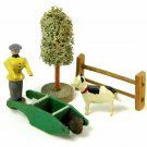 Antique German Erzgebirge Christmas Putz Miniature Wood Wheelbarrow Man Dog Tree Fence Village Toys