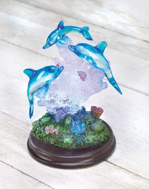 Lighted Dolphins Glass Wedding Cake Topper