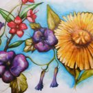 Tittle ~ Morning Glory Tangle ~ water color mix medium ~ art by Sylvia Lizaraga