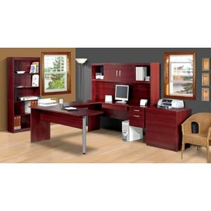 Mahogany Finish U-Shaped Office Suite