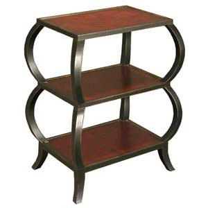 Black & Burl Three Tier End Table