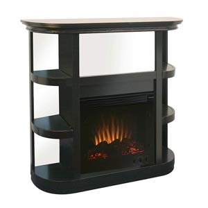 Modern Metropolitan Electric Fireplace w/ Curio Shelves