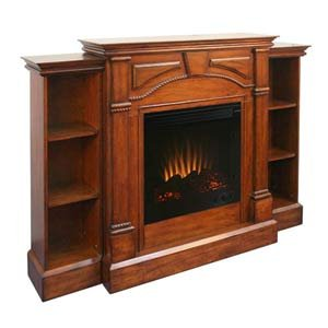 Mahogany Electric Fireplace w/ Pier Bookcases
