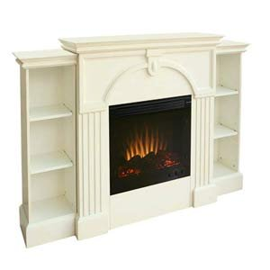Antique White Electric Fireplace w/ Pier Bookcases