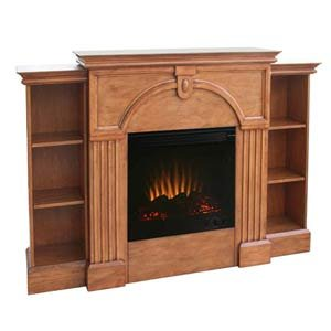 Plantation Oak Electric Fireplace w/ Pier Bookcases