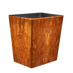 Polished Teak Wastebasket