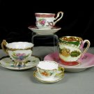 4 Asst. Miniature Cups and Saucers