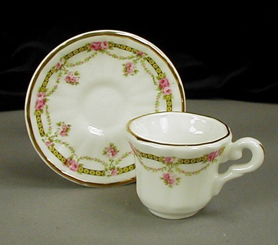 Crown Victorian Miniature Cup and Saucer Staffordshire