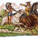 Buffalo Bill Wild West Victorian Die Cut German c 1880 Indians Buffalo Hunt