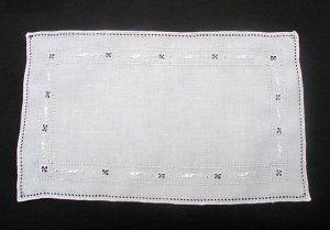 Vintage Hardanger Hand Drawn Thread Work Linen Doily Tea Cloth