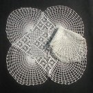"2 Different Stunning Geometric Crocheted Doilies White 15"" & 12"""