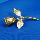 Vintage Goldtone Long Stem Rose Pin