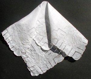Vintage Linen Handkerchief White on White Drawn Work