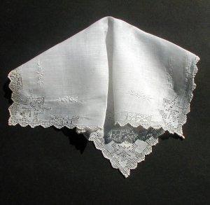 Vintage Linen Handkerchief Drawn Work Embroidered Flowers