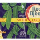 Red Moon Peas Vintage Vegetable Can Label Langrall