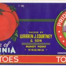 Pride of Virginia Tomatoes Can Label Mundy Point Virginia