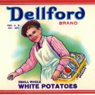 Dellford White Potatoes Can Label Brooklyn New York 8 oz.