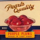 Pearl's Quality Purple Plums Can label Salem Oregon