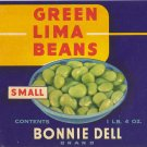 Bonnie Dell Lima Beans Vintage Vegetable Can Label Oakland CA