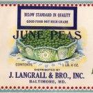 J. Langrall June Peas Vintage Vegetable Can Label Baltimore MD
