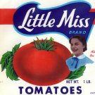 Little Miss Tomatoes Can Label 1 lb. Berkeley Springs WV 1952