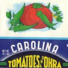Carolina Tomatoes and Okra Can Label Gilbert SC Litho