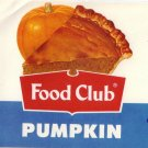 Food Club Pumpkin Can Label Topco Chicago IL 1 lb