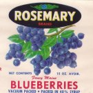 Rosemary Blueberries Can Label Columbia Falls ME Stecher