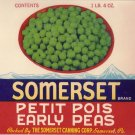 Somerset Early Peas Vegetable Can Label Somerset PA