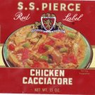 S.S. Pierce Chicken Cacciatore Can Label Boston MA