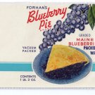 Forhan Blueberry Pie Blueberry Can Label Portland Maine