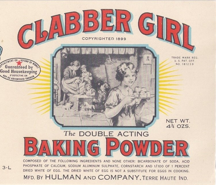 Clabber girl baking powder vintage can label terre haute in - Baking soda the powder that works wonders at home ...
