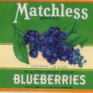 Matchless Blueberries Vintage Can Label Boston MA Litho