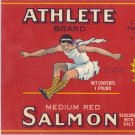 Athlete Salmon Vintage Can Label Chinook WA Litho 1 LB